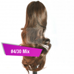 Pferdeschwanz Zopf Haarteil Ponytail 100g 30cm Gewellt #4/30 Mix Braun