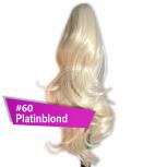 Pferdeschwanz Zopf Haarteil Ponytail 100g 30cm Gewellt #60 Platinblond