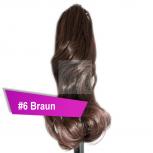 Pferdeschwanz Zopf Haarteil Ponytail 100g 30cm Gewellt #6 Braun