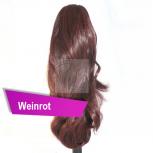 Pferdeschwanz Zopf Haarteil Ponytail 100g 30cm Gewellt Weinrot