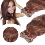 Skin Weft Haarverlängerung 60cm Länge Rotbraun #33