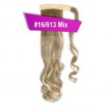 Pferdeschwanz Zopf Haarteil Ponytail 130g 50cm Gewellt #16/613 Blond Gesträhnt