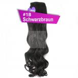 Pferdeschwanz Zopf Haarteil Ponytail 130g 50cm Gewellt #1B Schwarzbraun