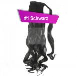 Pferdeschwanz Zopf Haarteil Ponytail 130g 50cm Gewellt #1 Schwarz