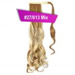 Pferdeschwanz Zopf Haarteil Ponytail 130g 50cm Gewellt #27/613 Mix Blond