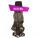 Pferdeschwanz Zopf Haarteil Ponytail 130g 50cm Gewellt #2/30 Mix Dunkelbraun