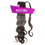 Pferdeschwanz Zopf Haarteil Ponytail 130g 50cm Gewellt #2/33 Mix Rotbraun