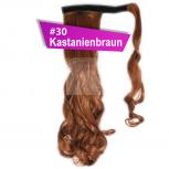 Pferdeschwanz Zopf Haarteil Ponytail 130g 50cm Gewellt #30 Kastanienbraun