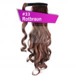 Pferdeschwanz Zopf Haarteil Ponytail 130g 50cm Gewellt #33 Rotbraun