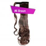 Pferdeschwanz Zopf Haarteil Ponytail 130g 50cm Gewellt #6 Braun