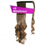 Pferdeschwanz Zopf Haarteil Ponytail 130g 50cm Gewellt #8 Mittelbraun