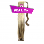 Pferdeschwanz Zopf Haarteil Ponytail 100g 30cm Glatt mit Haarband #12/613 Hellbraun Gesträhnt