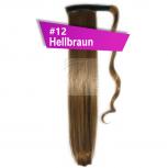 Pferdeschwanz Zopf Haarteil Ponytail 100g 30cm Glatt mit Haarband #12 Hellbraun