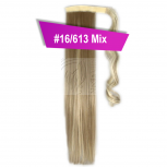 Pferdeschwanz Zopf Haarteil Ponytail 100g 30cm Glatt mit Haarband #16/613 Blond Gesträhnt