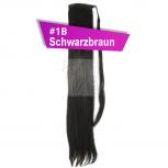 Pferdeschwanz Zopf Haarteil Ponytail 100g 30cm Glatt mit Haarband #1B Schwarzbraun