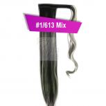 Pferdeschwanz Zopf Haarteil Ponytail 100g 30cm Glatt mit Haarband #1/613 Schwarz Gesträhnt