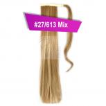 Pferdeschwanz Zopf Haarteil Ponytail 100g 30cm Glatt mit Haarband #27/613 Mix Blond