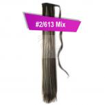 Pferdeschwanz Zopf Haarteil Ponytail 100g 30cm Glatt mit Haarband #2/613 Dunkelbraun Gesträhnt