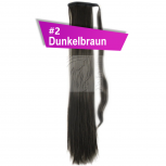 Pferdeschwanz Zopf Haarteil Ponytail 100g 30cm Glatt mit Haarband #2 Dunkelbraun