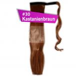 Pferdeschwanz Zopf Haarteil Ponytail 100g 30cm Glatt mit Haarband #30 Kastanienbraun