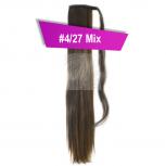 Pferdeschwanz Zopf Haarteil Ponytail 100g 30cm Glatt mit Haarband #4/27 Mix Schokobraun