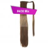 Pferdeschwanz Zopf Haarteil Ponytail 100g 30cm Glatt mit Haarband #4/30 Mix Braun