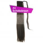 Pferdeschwanz Zopf Haarteil Ponytail 100g 30cm Glatt mit Haarband #4 Schokobraun