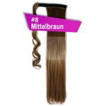 Pferdeschwanz Zopf Haarteil Ponytail 100g 30cm Glatt mit Haarband #8 Mittelbraun