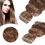 Skin Weft Haarverlängerung 60cm Länge Mittelbraun Dark #8D