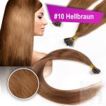 Echthaar Strähnen 1 g 45cm Keratin Bonding RB #10 Hellbraun + 2 Clips