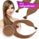 Echthaar Strähnen 0,5 g 45cm Bonding RB #12 Hellgoldbraun + 2 Clips