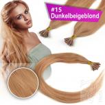 Echthaar Strähnen 1 g 45cm Bonding RB #15 Dunkelbeigeblond + 2 Clips
