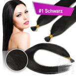 Echthaar Strähnen 0,5 g 45cm Haarverlängerung RB #1 Schwarz + 2 Clips