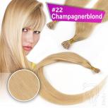 Echthaar Strähnen 0,5 g 45cm RB #22 Champagnerblond + 2 Clips