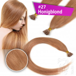 Echthaar Strähnen 0,5 g 60cm Bonding RB #27 Honigblond + 2 Clips