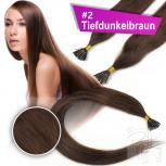 Echthaar Strähnen 0,5 g 60cm Bondings RB #2 Tiefdunkelbraun + 2 Clips