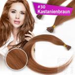 Echthaar Strähnen 1 g 45cm Bonding RB #30 Kastanienbraun + 2 Clips