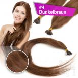 Echthaar Strähnen 0,5 g 60cm Bondings RB #4 Dunkelbraun + 2 Clips