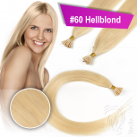 Echthaar Strähnen 1 g 60cm Bonding RB #60 Hellblond + 2 Clips