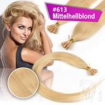 Echthaar Strähnen 0,5 g 45cm Bonding RB #613 Mittelhellblond + 2 Clips