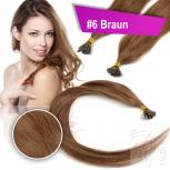 Echthaar Strähnen 0,5 g 45cm Keratin Bonding RB #6 Braun + 2 Clips