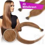 Echthaar Strähnen 1 g 45cm Keratin Bonding RB #8 Mittelbraun + 2 Clips