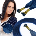 Bunte Echthaar Strähnen 0,5 g 45cm Haarverlängerung RB Blau