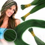 Bunte Echthaar Strähnen 0,5 g 45cm Haarverlängerung RB Grün