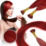 Bunte Echthaar Strähnen 0,5 g 45cm Haarverlängerung RB Rot