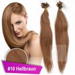 Bonding Strähnen 1 g 60 cm #10 Hellbraun + Zubehör Set