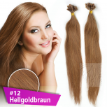 Bonding Strähnen 0,5 g 60cm #12 Hellgoldbraun + Zubehör Set