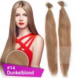 Bonding Strähnen 1 g 60 cm #14 Dunkelblond + Zubehör Set