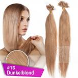Bonding Strähnen 0,5 g 60cm #16 Dunkelblond + Zubehör Set