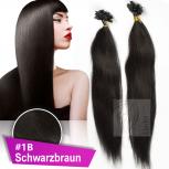 Strähnen 0,5g 45cm Haarverlängerung #1B Schwarzbraun + Set